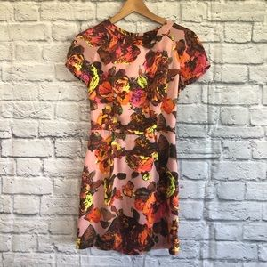 TOPSHOP Pink Floral Dress w/ Cut Out Back